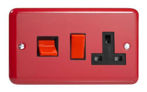 Varilight XY45PB.PR Lily Primary Pillar Box Red 45A DP Cooker Switch + 13A Switched Socket